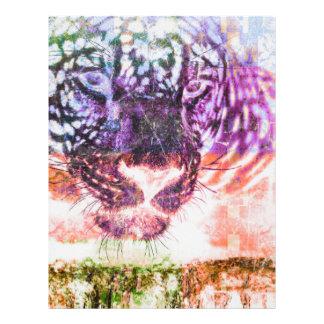 Papel Timbrado Design do gato de Jaguar do arco-íris
