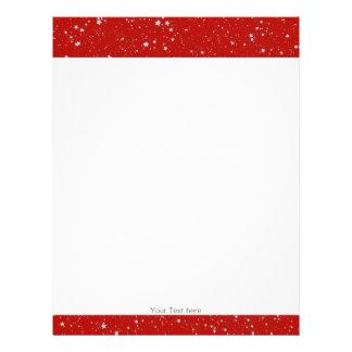 Papel Timbrado Estrelas do brilho - vermelho de prata