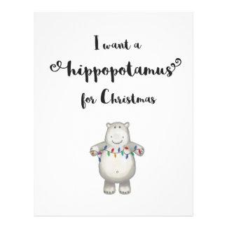 Papel Timbrado Eu quero um hippopotamus para o Natal