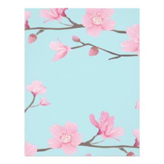 Papel Timbrado Flor de cerejeira - azul-céu