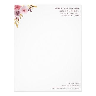 Papel Timbrado Flor & folhas cor-de-rosa, malva, e roxas da