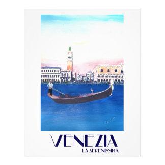 Papel Timbrado Gôndola de Veneza Italia no canal grande com San