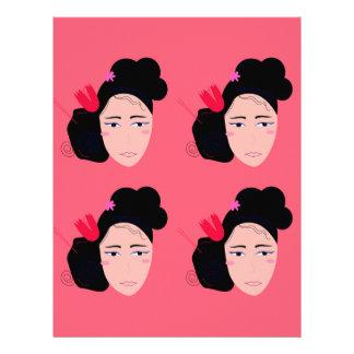 Papel Timbrado Gueixas no design cor-de-rosa