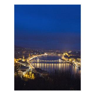 Papel Timbrado Hungria Budapest no panorama da noite