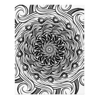 Papel Timbrado Ilusão óptica do Doodle ornamentado do zen preto e