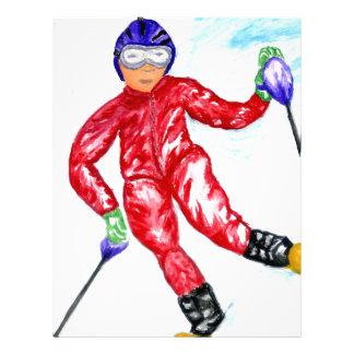 Papel Timbrado Ilustração do esporte do esquiador
