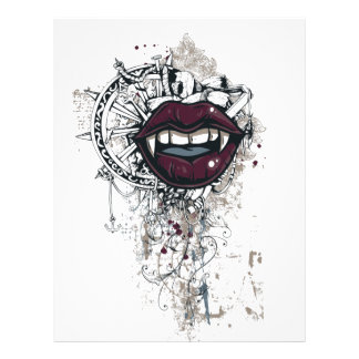 Papel Timbrado lábios de dracula do vintage