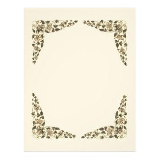 Papel Timbrado Livro do vazio da flor do vintage da página das