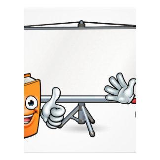 Papel Timbrado Livro e mascote e Whiteboard do lápis