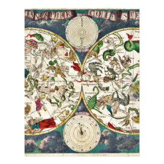 Papel Timbrado Mapa histórico do zodíaco, 1670