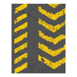 Papel Timbrado Marcação de estrada amarela afligida Grunge