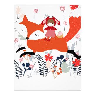 Papel Timbrado Menina e raposa vermelhas da equitação da capa no