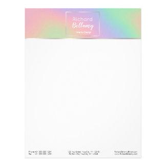Papel Timbrado Metal holográfico moderno do arco-íris - cabeçalho