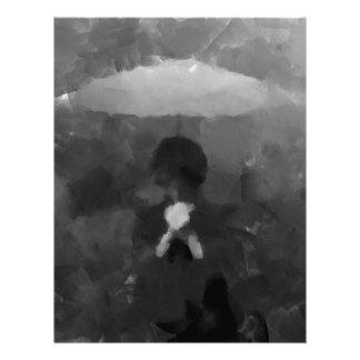 Papel Timbrado Na pintura escura da arte da chuva