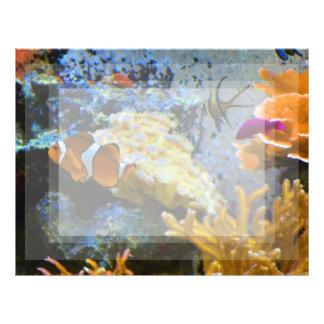 Papel Timbrado oceano do coral dos peixes do recife