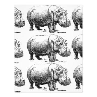Papel Timbrado ouro do hippopotamus
