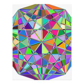 Papel Timbrado Pedra de gema tirada Kaleidescope colorida
