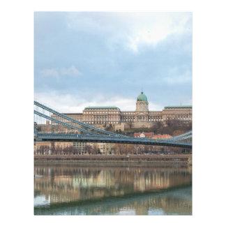 Papel Timbrado Ponte Chain com castelo Hungria Budapest de Buda