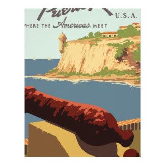 Papel Timbrado Poster Puerto Rico das viagens vintage