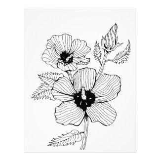 Papel Timbrado Rosa do hibiscus da flor de Sharon
