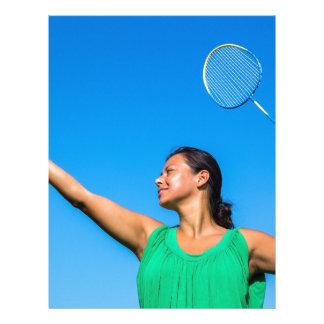 Papel Timbrado Saque colombiano da mulher com raquete de
