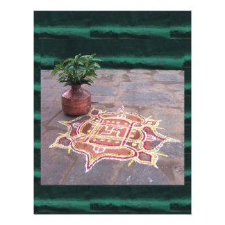 Papel Timbrado Símbolos indianos do casamento do rangoli da