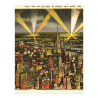 Papel Timbrado Skyline da Nova Iorque do vintage