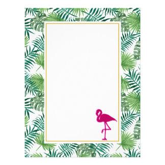 Papel Timbrado Teste padrão tropical das folhas e flamingo