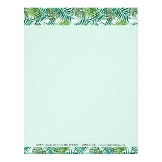 Papel Timbrado Teste padrão verde tropical chique retro das