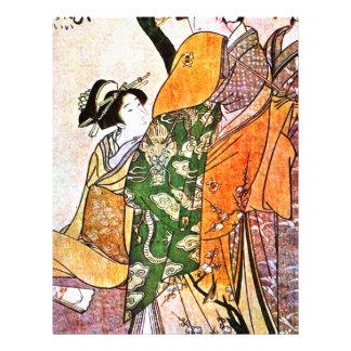 Papel Timbrado Trabalhos de arte japoneses da gueixa do vintage