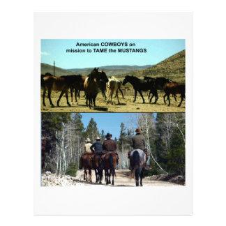 Papel Timbrado Vaqueiros americanos na viagem aos cavalos do