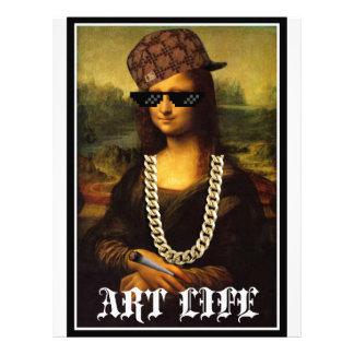Papel Timbrado Vida da arte da vida do vândalo de Mona Lisa