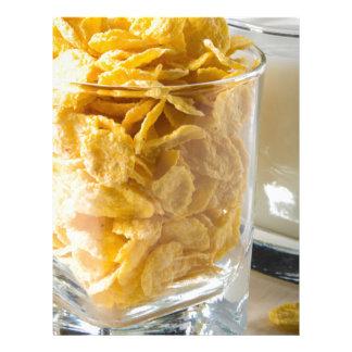 Papel Timbrado Vidro do cereal seco e um vidro do leite