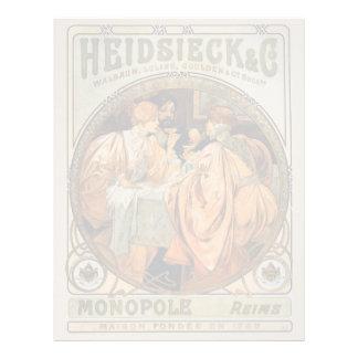 Papel Timbrado Vintage Heidsieck & etiqueta Monopole do vinho do