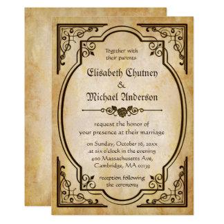 Papel velho antigo - casamento rústico do país do convite 12.7 x 17.78cm