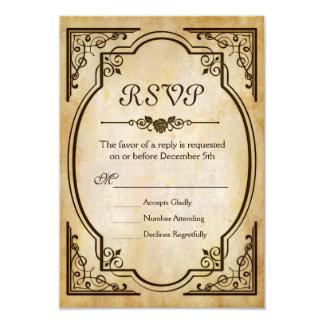 Papel velho antigo de RSVP - casamento vintage Convite 8.89 X 12.7cm