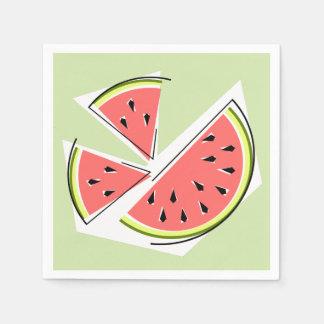 Papel verde dos guardanapo das partes da melancia