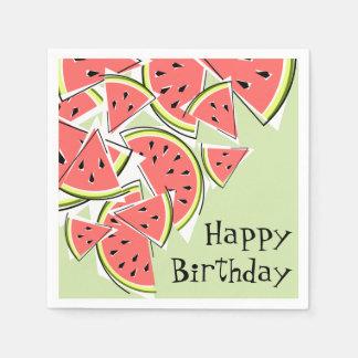 Papel verde dos guardanapo do feliz aniversario da