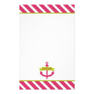 Papelaria A âncora & as listras cor-de-rosa personalizaram