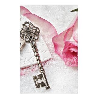 Papelaria A chave a meu coração cor-de-rosa e dia dos