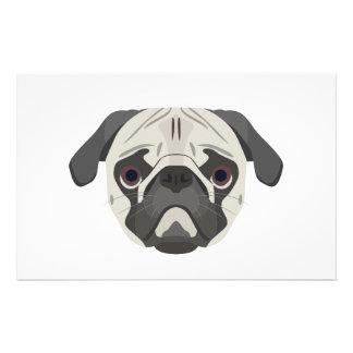 Papelaria A ilustração persegue o Pug da cara