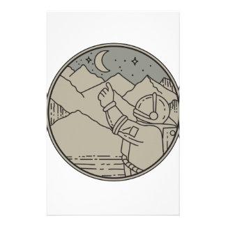 Papelaria A lua do astronauta Stars a mono linha do círculo