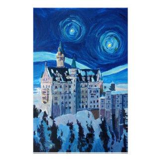 Papelaria A noite estrelado com castelo romântico Van Gogh