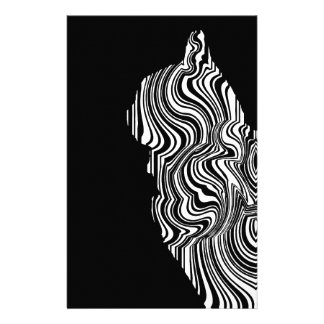 Papelaria Abstract Black and White Cat Swirl Monochroom