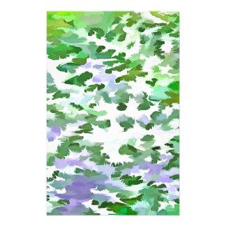 Papelaria Abstrato da folha em verde e no malva