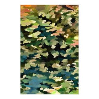 Papelaria Abstrato da folha no verde, no pêssego e no azul