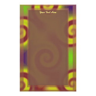Papelaria Abstrato Groovy do redemoinho de Brown amarelo