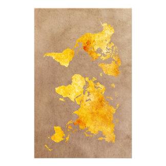 Papelaria amarelo do mapa do mundo