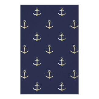 Papelaria Âncora náutica dos azuis marinhos