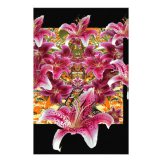 Papelaria arte floral dos lírios do gazer da estrela